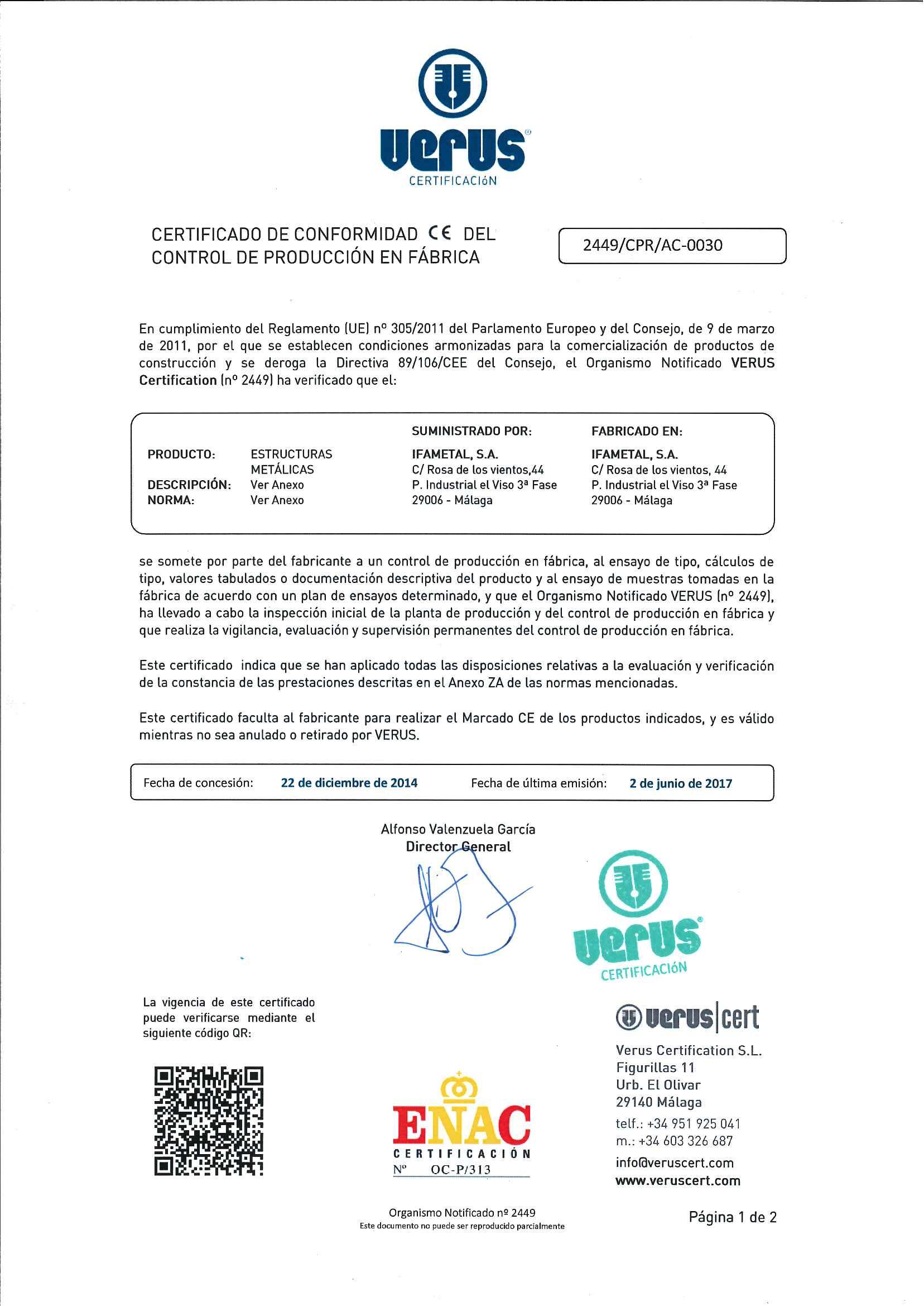 Certificados De Calidad Ifametal